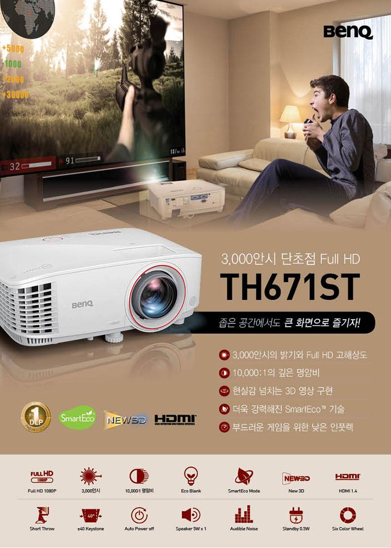 벤큐 FULL-HD 올인원 프로젝터 th671st