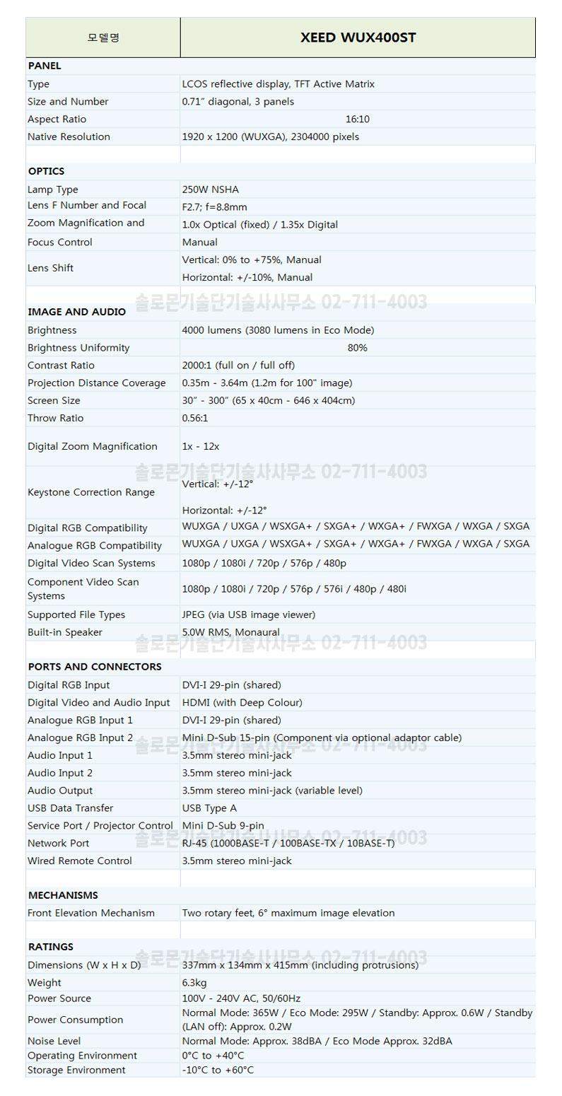 캐논 LCOS방식 프로젝터 XEED  WUX400ST