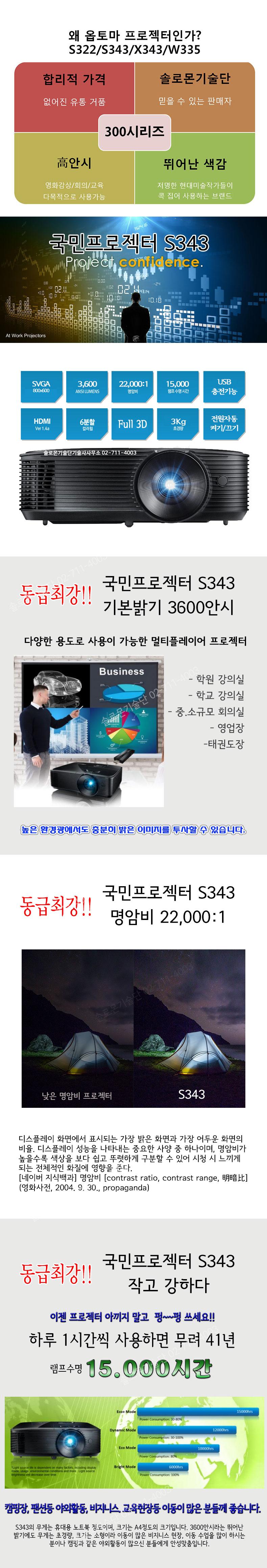 s343 옵토마 svga 프로젝터 3600안시 s343
