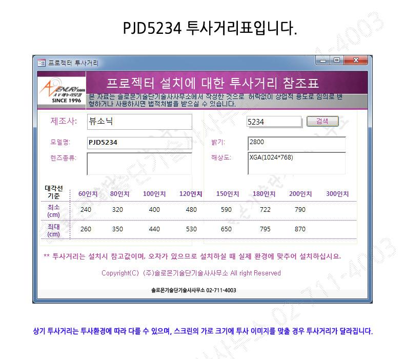 뷰소닉 PJD5234L 투사거리