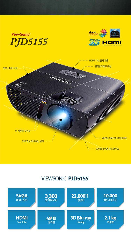뷰소닉 pjd5155 기본3200안시 램프10000시간 6분할 컬러휠