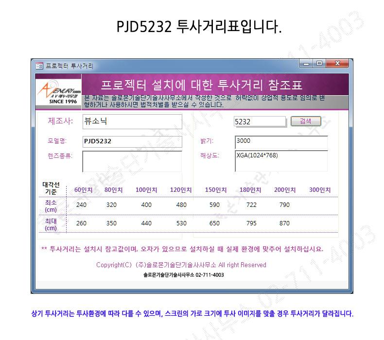 뷰소닉 pjd5232 투사거리