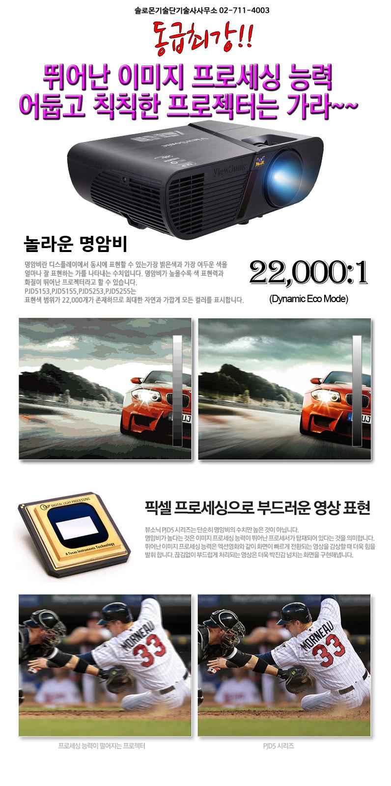 국민 프로젝터 뷰소닉 pjd5255 동급최강 명암비 15000:1